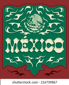 Traditional Mexico sign - mexican poster - card - invitation - Mexican flag colors