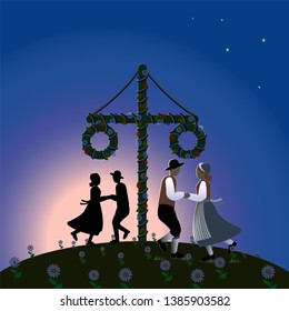 Traditional midsummer dance around a maypole in the bright summer night in Sweden. Vector Illustration