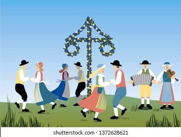 Traditional midsummer dance in Sweden with music and a flower decorated maypole. Vector Illustration