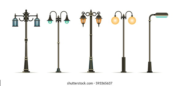 Traditional and Modern Outdoor Lamp Posts. Vector illustration. Icon set isolated on white background