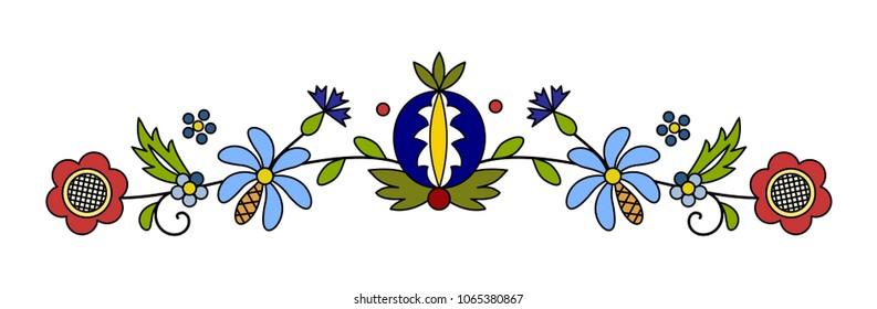 Traditional, modern Polish - Kashubian floral folk decoration vector - wzór kaszubski, haft kaszubski, wzory kaszubskie