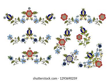 Traditional, modern Polish - Kashubian floral folk decoration vector, wzory kaszubskie, kaszubski wzór, haft