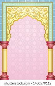 Traditional moroccan door facade with arabesque floral vector illustration in pastel colour