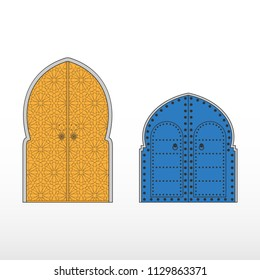 Traditional Moroccan entry doors. Moroccan riads. Vector Illustration.