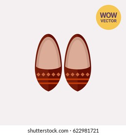 Traditional Moroccan shoes vector icon