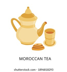 Traditional moroccan tea. Old beautiful oriental teapot and teacup. Arab traditions, Moroccan culture. Flat vector illustration isolated on a white background.