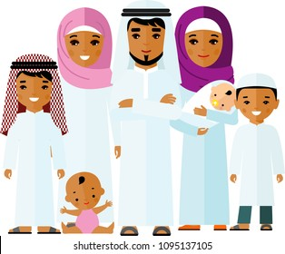 Traditional muslim family with happy parents, children.  Vector colorful illustration of arab  family in national clothes