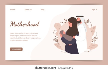 Traditional muslim family, motherhoodand child birth in arab couple. Landing page template. Woman in hijab and national costume with her husband and baby. Flat vector illustration.