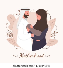 Traditional muslim family, motherhoodand child birth in arab couple. Woman in hijab and national costume with her husband and baby. Flat vector illustration.