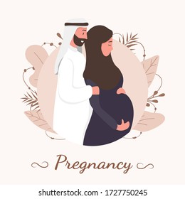 Traditional muslim family, pregnancy and child birth in arab couple. A pregnant woman in hijab and national costume with her husband and baby. Flat vector illustration.