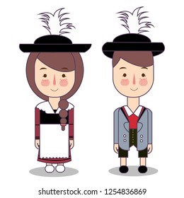 traditional national clothes of Germany Bavaria . Set of cartoon characters in traditional costume. Cute people. flat vector illustrations.