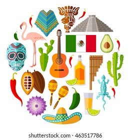 Traditional national symbols of Mexico. Set of Mexican icons. Vector illustration in flat style. Collection of souvenirs, attributes and design elements.