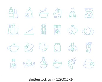 Traditional naturopathy icon. Alternative herbal medicine vitamin bioenergy health osteopathy and homeopathy tools vector symbols