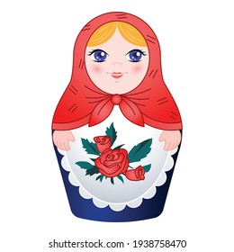 Traditional nested doll icon. Cartoon of traditional nested doll vector icon for web design isolated on white background