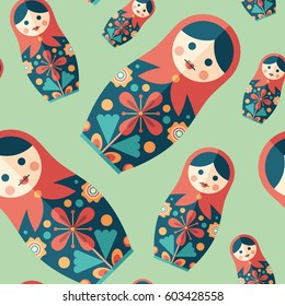 Traditional nesting doll flat icon seamless pattern.