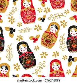 Traditional nesting doll matryoshka seamless pattern.