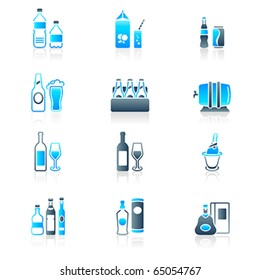 Traditional non- and alcoholic drinks icon-set in blue-gray