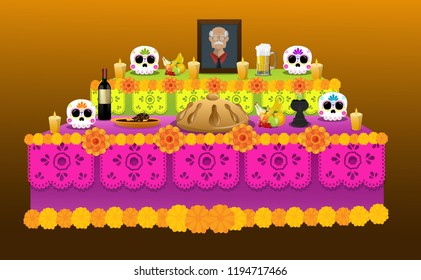 Traditional offering of the Day of Dead, in Mexican customs, with sugar skulls, bread, food and drinks as a tribute to the deceased.