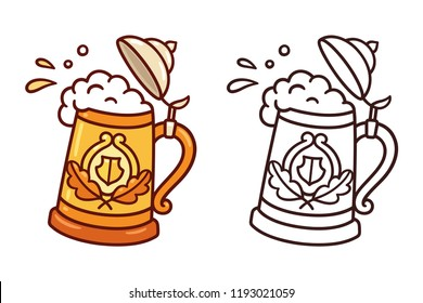 Traditional Oktoberfest stein, beer mug, with splashes of foam and beer. Cartoon doodle style vector clip art illustration.