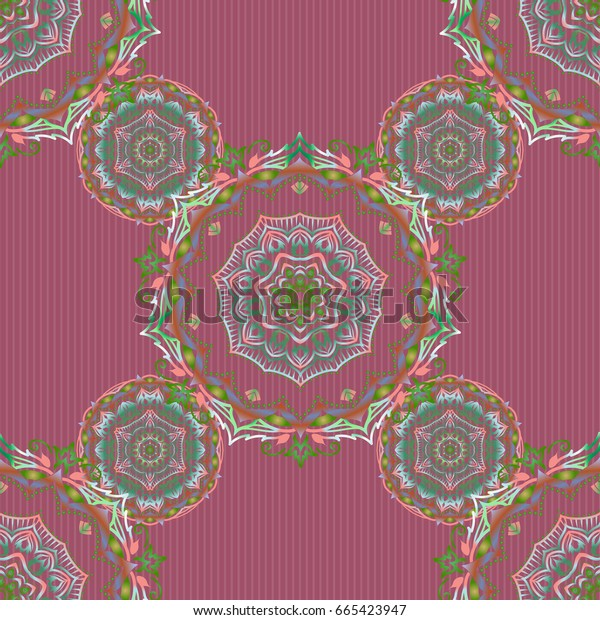 Traditional orient ornament. Classic vintage ornament in green and blue colors. Seamless classic vector pattern.