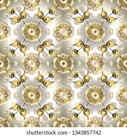 Traditional orient ornament. Golden pattern on white and neutral colors with golden elements. Seamless classic vector golden pattern. Classic vintage background.