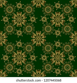 Traditional orient ornament on a green background. Seamless classic vector golden pattern.