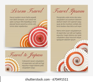 Traditional oriental asian invitation cards with chinese or japanese umbrella set vector illustration