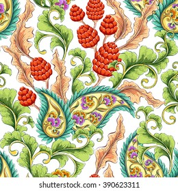 Traditional oriental paisley pattern. Seamless colorful flowers background. Decorative ornament backdrop for fabric, textile, wrapping paper, card, invitation, wallpaper, web design