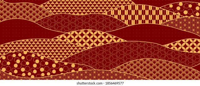 Traditional oriental patterns abstract background, gold on red. Oriental style vector illustration. Design concept for Chinese New Year, Mid autumn festival elegant minimal card, poster, banner.