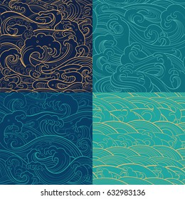 Traditional oriental seamless contour color patterns with ocean waves, foam, splashes. Vector backgrounds
