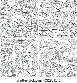 Traditional oriental seamless contour patterns with ocean waves, foam, splashes. Vector backgrounds