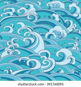 Traditional oriental seamless pattern with ocean waves, foam, splashes. Vector sea backdrop