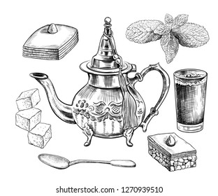 Traditional Oriental teapot with a tassel , a glass of tea, baklava, a teaspoon, mint leaves and lump sugar. Set of isolated objects of oriental tea drinking in sketch style.  Clipart.