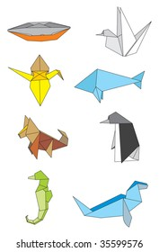 Traditional origami made figures