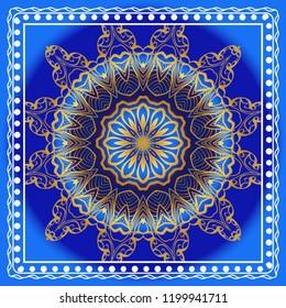 Traditional ornamental floral pattern for fashion print. Ethnic mandala decoration. For fashion print, bandanna, tablecloth, neck scarf.
