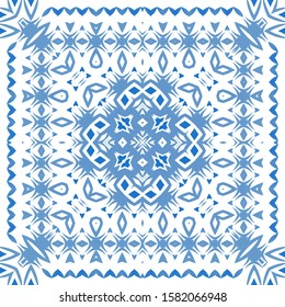 Traditional ornate portuguese azulejo. Vector seamless pattern arabesque. Graphic design. Blue abstract background for web backdrop, print, pillows, surface texture, wallpaper, towels.