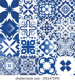 Traditional ornate portuguese azulejos. Collection of vector seamless patterns. Minimal design. Blue abstract backgrounds for web backdrop, print, pillows, surface texture, wallpaper, towels.