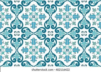 Traditionelle portugiesische und brasilianische Fliesen, die in türkisfarbenen Tönen gehalten sind. Vintage-Muster.Abstrakter Hintergrund. Vektorgrafik, eps10.