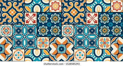 Traditional ornate portuguese decorative color tiles azulejos. Abstract background. Vector hand drawn illustration, typical portuguese tiles, Ceramic tiles. Seamless pattern.