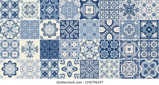 Traditional ornate portuguese decorative tiles azulejos. Abstract background. Vector hand drawn illustration, typical portuguese tiles, Ceramic tiles. Seamless pattern.