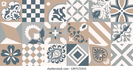 Traditional ornate portuguese decorative tiles azulejos. Abstract background. Vector hand drawn illustration, typical portuguese tiles, Ceramic tiles. Set of mandalas