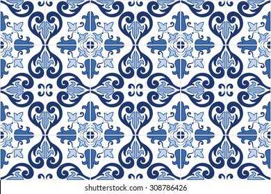 Traditional ornate portuguese decorative tiles azulejos. Vintage pattern. Abstract background. Vector hand drawn illustration, eps10.