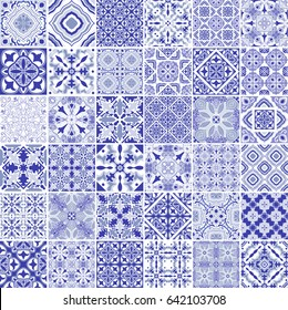 Traditional ornate portuguese decorative tiles azulejos. Vintage pattern in blue theme. Abstract background. Vector hand drawn illustration, typical portuguese tiles, Ceramic tiles. Set of mandalas