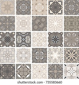 Traditional ornate portuguese decorative tiles azulejos. Abstract background. Vector hand drawn illustration, typical portuguese tiles, floral patchwork design. Moroccan or Mediterranean square tiles