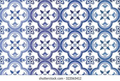 Traditionelle portugiesische Fliesen Azulejos, 4 Töne Variationen in Blau. Vintage-Muster.Abstrakter Hintergrund. Vektorgrafik, eps.