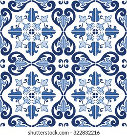 Traditional ornate portuguese tiles azulejos. Vintage seamless pattern. Abstract background. Vector illustration, eps, added to swatch palette.