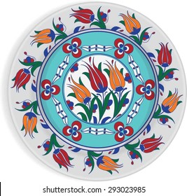 The traditional Ottoman decorative plate