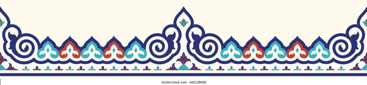 Traditional Ottoman Iznik Seamless Border. Islamic Floral Design. Red, Blue, Cyan on Beige.
