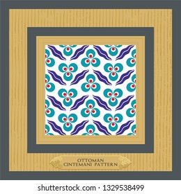 Traditional Ottoman - Turkish oriental Cintemani tile Pattern. EPS 10 format Vector drawing. Tile, Wall paper, gift card, background, fabric, for web or print.