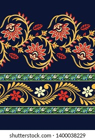 traditional Paisley pattern border on navy